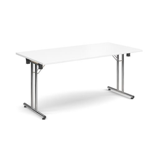 Rectangular folding leg table with chrome legs and straight foot rails 1600x800mm White DAMS SFL1600-C-WH   Fusion Office
