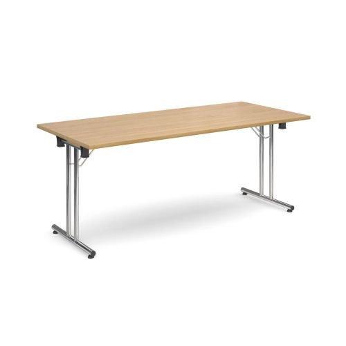 Rectangular folding leg table with chrome legs and straight foot rails 1800x800mm Oak DAMS SFL1800-C-O | Fusion Office