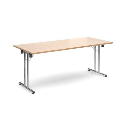 Rectangular folding leg table with chrome legs and straight foot rails 1800x800mm Beech DAMS SFL1800-C-B   Fusion Office