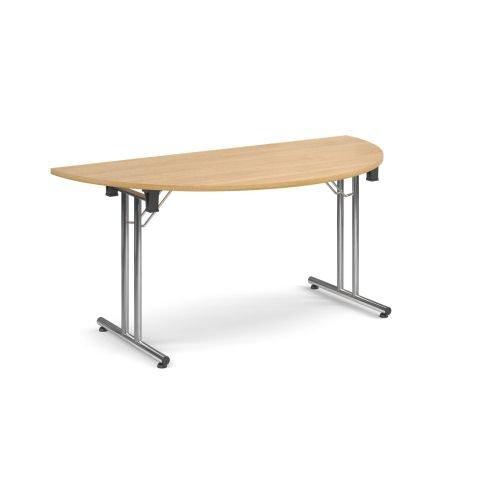 Semi-Circle folding leg table with chrome legs and straight foot rails 1600x800mm Oak DAMS SFL1600S-C-O   Fusion Office
