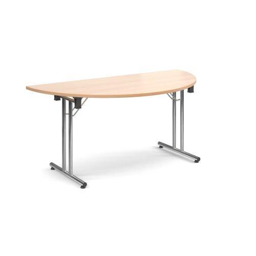 Semi-Circle folding leg table with chrome legs and straight foot rails 1600x800mm Beech DAMS SFL1600S-C-B | Fusion Office