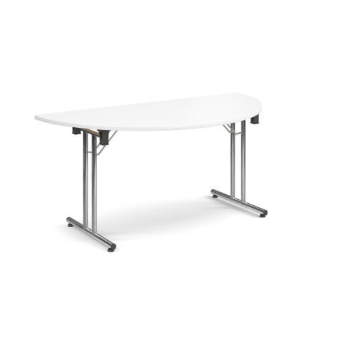 Semi-Circle folding leg table with chrome legs and straight foot rails 1600x800mm White DAMS SFL1600S-C-WH | Fusion Office