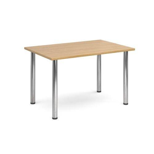 Rectangular chrome radial leg meeting table 1400x800mm Oak DAMS DRL1400-C-O | Meeting Table | Fusion Office