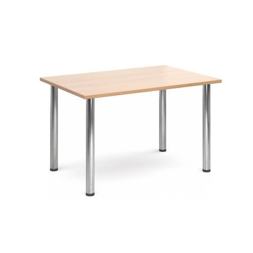 Rectangular chrome radial leg meeting table 1400mm x 800mm Beech DAMS DRL1400-C-B | Meeting Table | Fusion Office