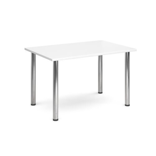 Rectangular chrome radial leg meeting table 1400x800mm White DAMS DRL1400-C-WH | Meeting Table | Fusion Office