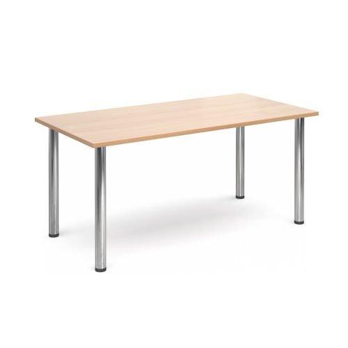 Rectangular chrome radial leg meeting table 1600x800mm Beech DAMS DRL1600-C-B   Meeting Table   Fusion Office