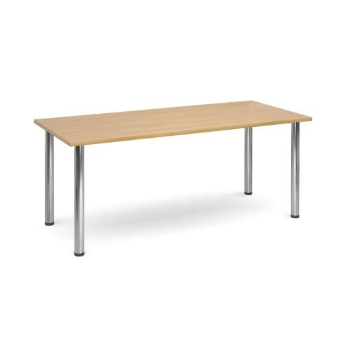Rectangular chrome radial leg meeting table 1800x800mm Oak DAMS DRL1800-C-O | Meeting Table | Fusion Office