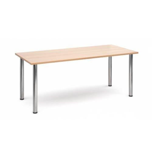 Rectangular chrome radial leg meeting table 1800x800mm Beech DAMS DRL1800-C-B | Meeting Table | Fusion Office