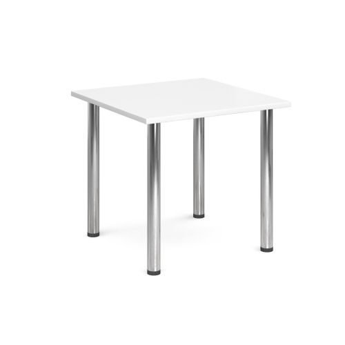 Square chrome radial leg meeting table 800x800mm White DAMS DRL800-C-WH | Meeting Table | Fusion Office
