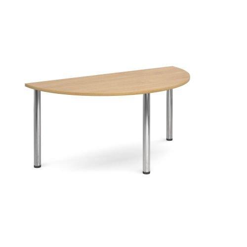 Semi-Circle chrome radial leg meeting table 1600mm x 800mm Oak DAMS DRL1600S-C-O | Meeting Table | Fusion Office