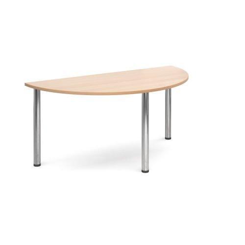 Semi-Circle chrome radial leg meeting table 1600mm x 800mm Beech DAMS DRL1600S-C-B   Meeting Table   Fusion Office