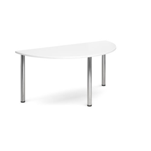 Semi-Circle chrome radial leg meeting table 1600mm x 800mm White DAMS DRL1600S-C-WH | Meeting Table | Fusion Office