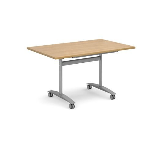 Rectangular deluxe fliptop meeting table with silver frame 1400x800mm Oak DAMS DFLP14-S-O | Fusion Office