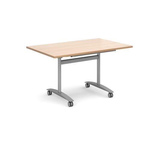 Rectangular deluxe fliptop meeting table with silver frame 1400mm x 800mm Beech DAMS DFLP14-S-B | Fusion Office