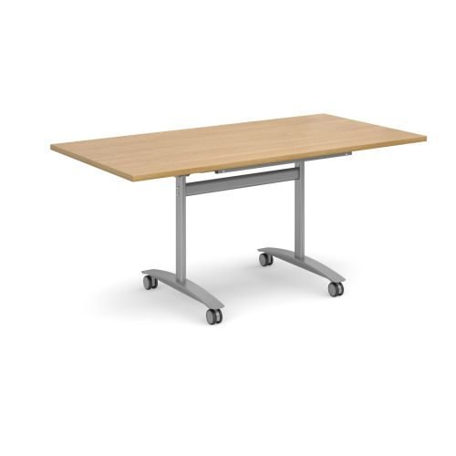 Rectangular deluxe fliptop meeting table with silver frame 1600x800mm Oak DAMS DFLP16-S-O   Fusion Office