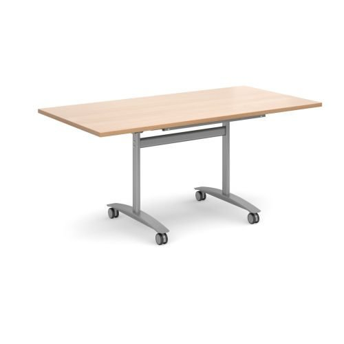 Rectangular deluxe fliptop meeting table with silver frame 1600x800mm Beech DAMS DFLP16-S-B | Fusion Office