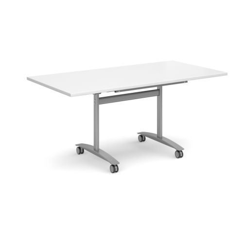 Rectangular deluxe fliptop meeting table with silver frame 1600x800mm White DAMS DFLP16-S-WH | Fusion Office