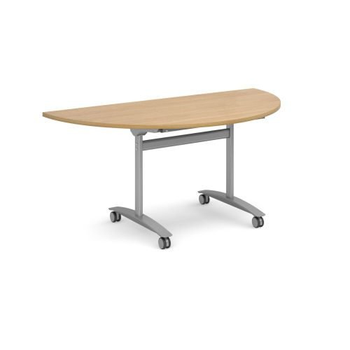 Semi-Circle deluxe fliptop meeting table with silver frame 1600x800mm Oak DAMS DFLPS-S-O | Fusion Office