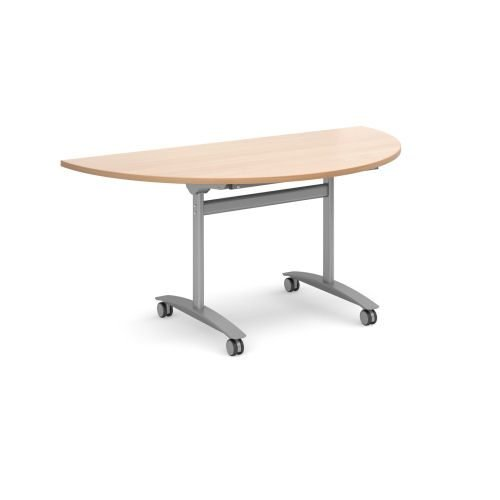 Semi-Cirecle deluxe fliptop meeting table with silver frame 1600x800mm Beech DAMS DFLPS-S-B   Fusion Office