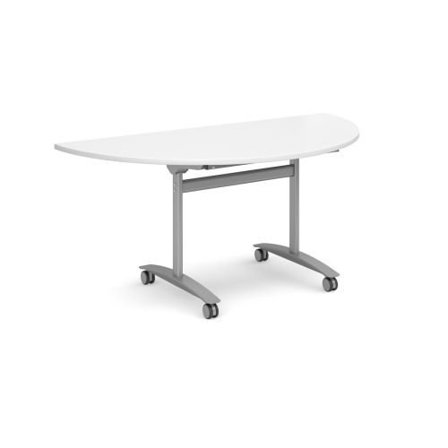 Semi-Circle deluxe fliptop meeting table with silver frame 1600x800mm White DAMS DFLPS-S-WH   Fusion Office