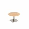Brescia 800mm Circular Coffee Table Beech / Steel Base BCC800-BS-B | Stylish focal point for any breakout space | Fusion Office UK