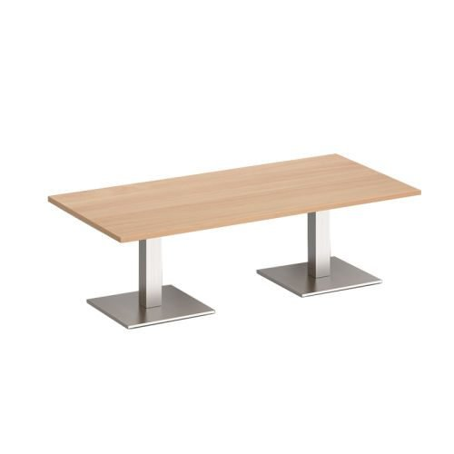 Brescia 1200x800mm Coffee Table Oak / Steel Base BCR1200-BS-O | Stylish focal point for any breakout space | Fusion Office UK