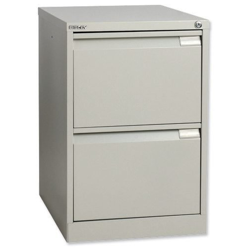 Bisley 2 Drawer Grey Filing Cabinet Classic BS2E-73 | Recess handles | Central locking | Anti-tilt safety device | Fusion Office UK