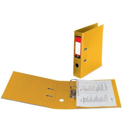 Lever Arch Files Yellow Foolscap Polyprop Covered [Pack 10] | Strong thick board with plastic covering | Fusion Office