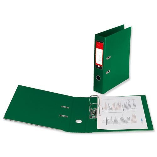Lever Arch Files Green Foolscap Polyprop Covered [Pack 10] | Strong thick board with plastic covering | Fusion Office