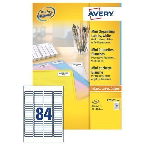Avery L7656-100 Laser Address A4 Labels 84 Per Page 46x11.1 White [100 Sheets]   JamFREE™ printing   FSC certified paper   Fusion Office UK