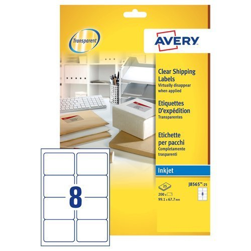 Avery Clear Addressing Labels 8 per Sheet 99 1x67 7mm Ref J8565-25 [200  Labels]