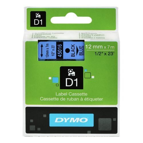 Dymo D1 Tape for Electronic Labelmakers 12mmx7m Black on Blue Ref 45016 S0720560 | Authentic DYMO | Fusion Office