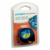 Dymo LetraTag® Tape Plastic 12mmx4m Black on Yellow Ref 91202 S0721620   LT100H/LT100T   Authentic DYMO   Fusion Office