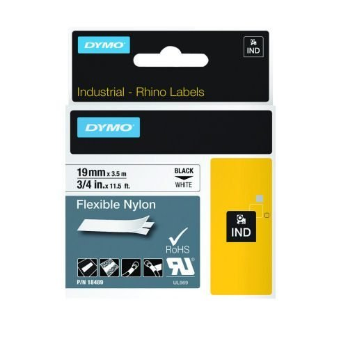 DYMO Industrial Rhino Label Tape Flexible Nylon 12mm Black on White 18758 S0718100 | For heavy duty environments | Fusion Office