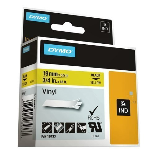 DYMO Industrial Rhino Label Tape Vinyl 19mm Black on Yellow18433 S0718470 | Developed for heavy duty environments | Fusion Office