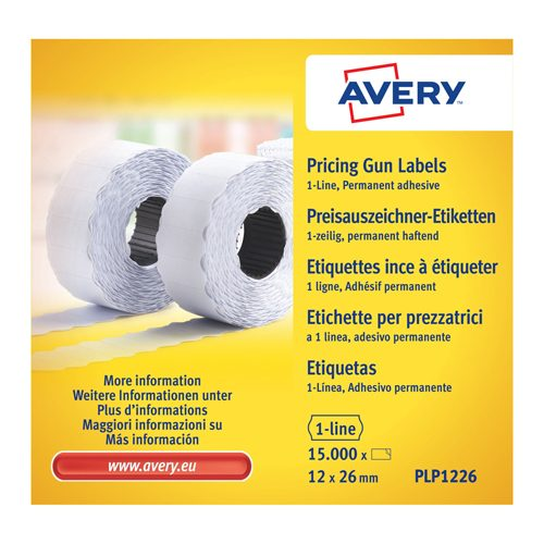 Avery PLP1226 Pricing Gun Labels 1 Line Permanent [Pack 10]   Tamper-evident label roll   Easy-to-load   Fusion Office UK - Andover