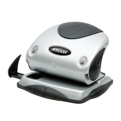 Rexel Precision 215 2-Hole Punch Silver/Black 2100738 [15 Sheets] | Premium metal 2 hole punch for effortless punching | Fusion Office UK