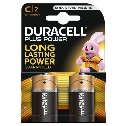 Duracell Plus C 2 Batteries LR14 MN1400 1.5V | Use in electronics that require reliable power | Plastic Free Packaging | Fusion Office UK