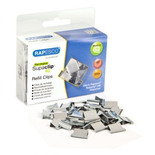 Rapesco Supaclip 40 Refill Clips S/Steel [Pack 200] CP20040S | These clips can be removed and reused | Fusion Office UK