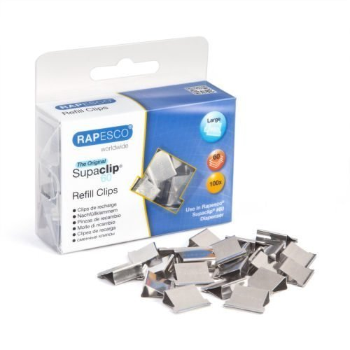 Rapesco Supaclip 60 Refill Clips S/Steel [Pack 100] CP10060S | These clips can be removed and reused | Fusion Office UK