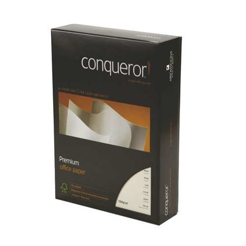 Conqueror Wove Cream Paper A4 100gsm [500 Sheets] | Superb high-contrast matt printing | Watermarked | Fusion Office UK