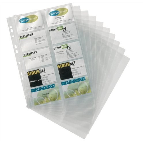 Durable A4 Business Card Pockets 238919 [Pack 10]   Universal punching - also fit standard lever arch files & ring binders   Fusion Office UK