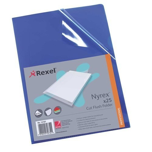 Rexel Nyrex Cut Flush Folders Blue A4 12161BU [Pack 25] | Made from premium hard wearing material for consistent use | Fusion Office UK