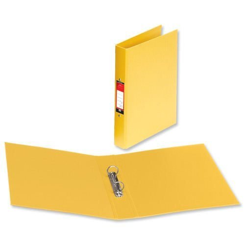 Ring Binders A4 Yellow Polyprop Covered [Pack 10]   Quality 2 O-Ring 25mm   Fusion Office