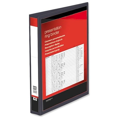 Presentation Ring Binders 25mm Black 4 Ring A4 [Pack 10] | Heavyweight Polypropylene covering for durability | Fusion Office