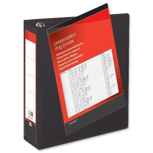 Presentation Ring Binders 50mm Black 4 Ring A4 [Pack 10] | Heavyweight Polypropylene covering for durability | Fusion Office