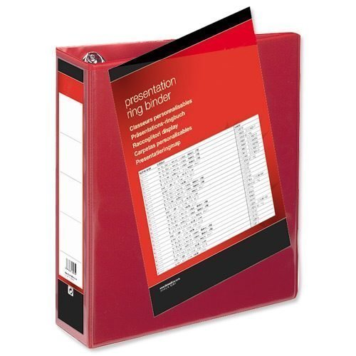 Presentation Ring Binders 50mm Red 4 Ring A4 [Pack 10]   Heavyweight Polypropylene covering for durability   Fusion Office