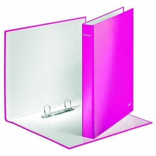 Leitz WOW Ring Binders Pink A4 42410023 [Pack 10]   Made from board covered in glossy high quality laminated paper   Fusion Office UK