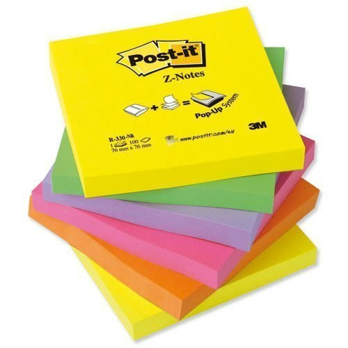 3M R330-NR Post-It Z-Notes Neon Rainbow 76x76mm [Pack 6] | Fan-folded to pop up one after another | Use with Z dispensers | Fusion Office UK