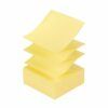 3M R330 Post-It Z Notes Canary Yellow 76x76mm [Pack 12] | Fan-folded to pop up one after another | Use with Z dispensers | Fusion Office UK